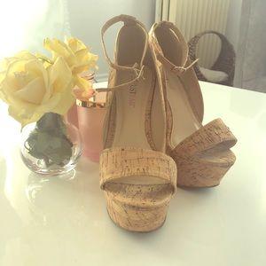 Cork Ankle Strap Wedge Platform w/ Retro Gold Heel